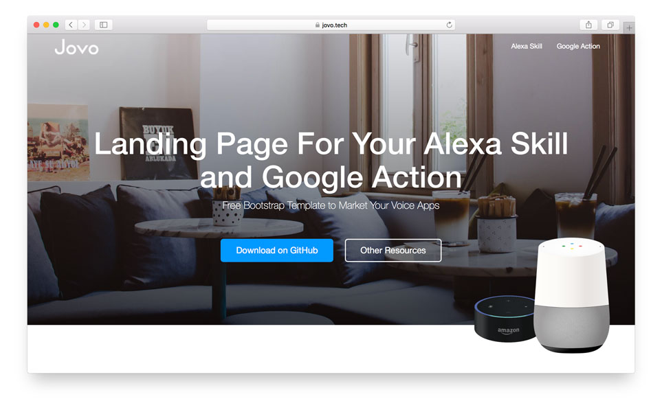 Landing Page for Alexa Skills and Google Actions