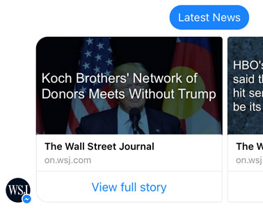 How WSJ uses Facebook Messenger Gallery Elements