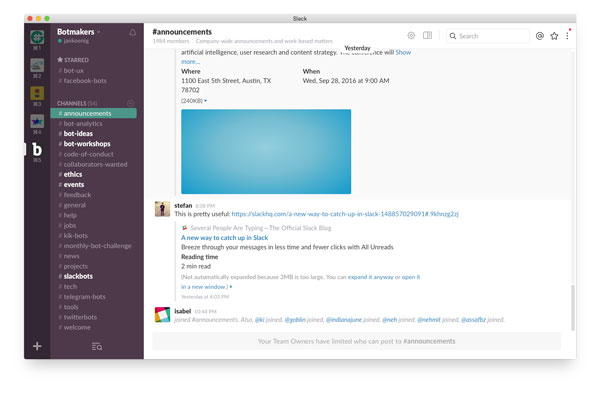 Screenshot, Botmakers Slack Team