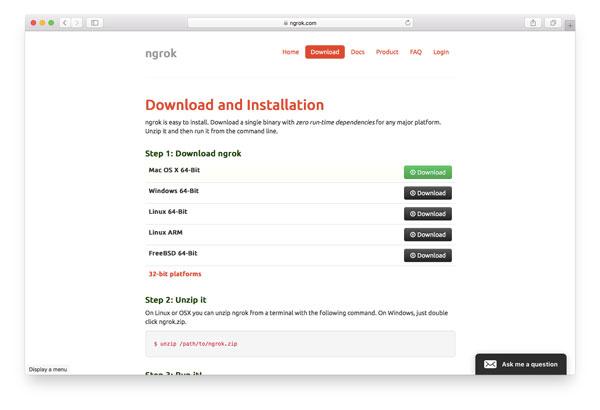 ngrok installation guide at https://ngrok.com/download